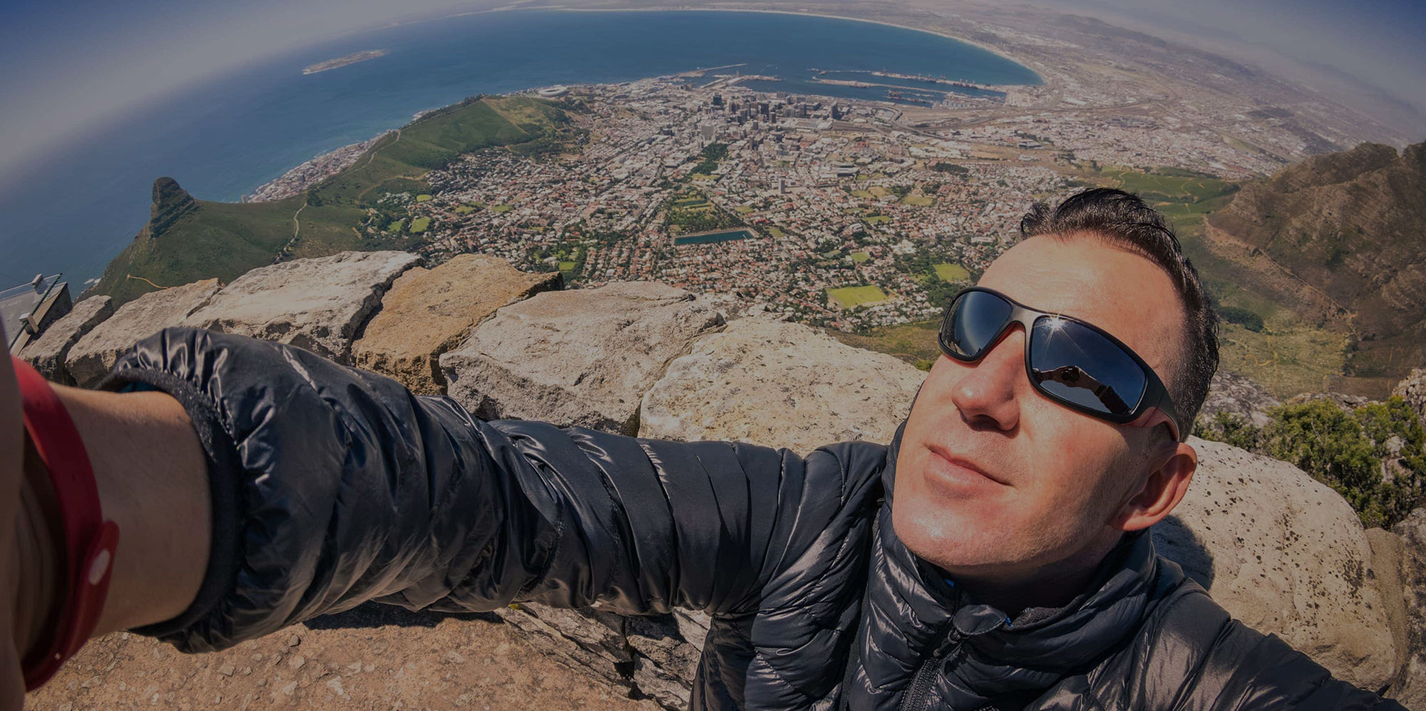 Man taking selfie on Table Mountain